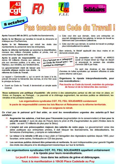 Tract intersyndical 43 8 octobre 2015 vs