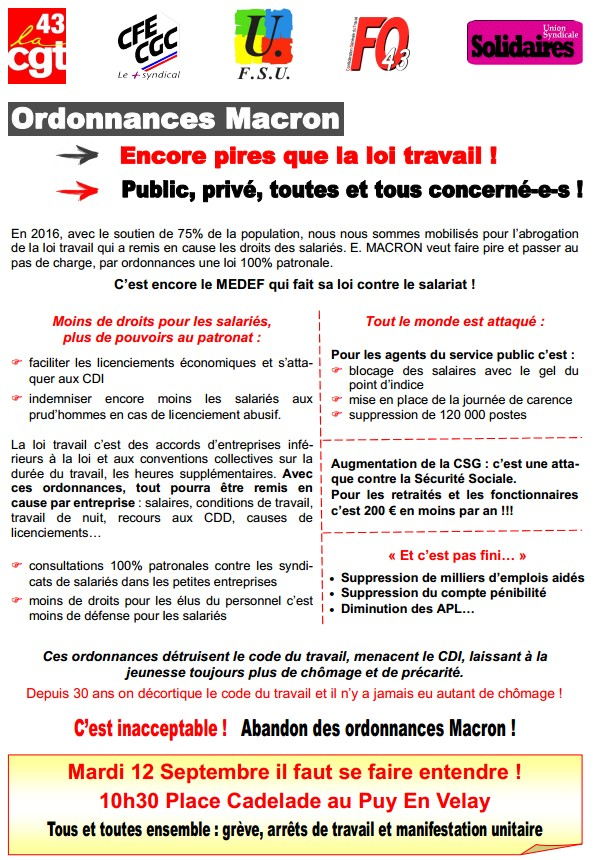 Tract intersyndical 12 septembre Haute Loire vs2