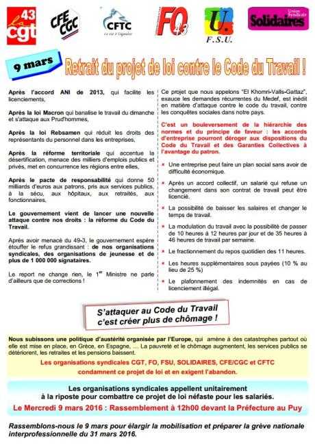 trac intersyndical 43 9 mars 2016 vs